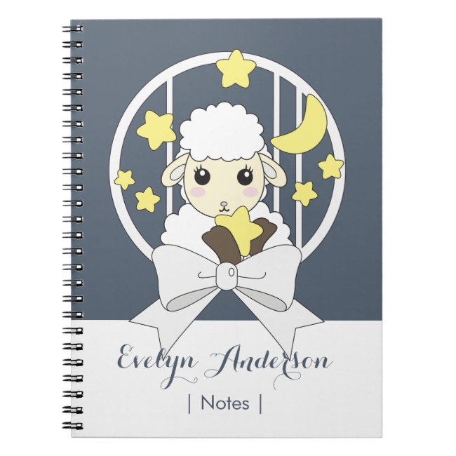 Cute Animal Cartoon Lamb and Ribbon Personalized