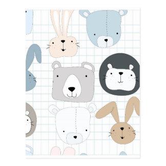 Cute animal cartoon teddy bear ,lion and rabbit postcard