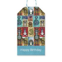 Cute Animal Collage Folk Art Design Happy Birthday Gift Tags