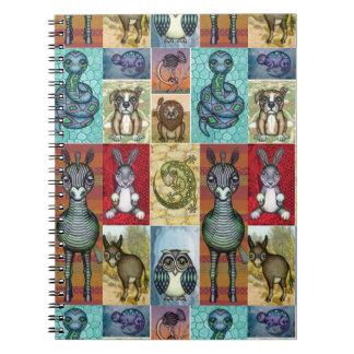 Cute Animal Collage Folk Art Design Notebook