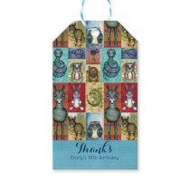 Cute Animal Collage Folk Art Design Thank You Gift Tags
