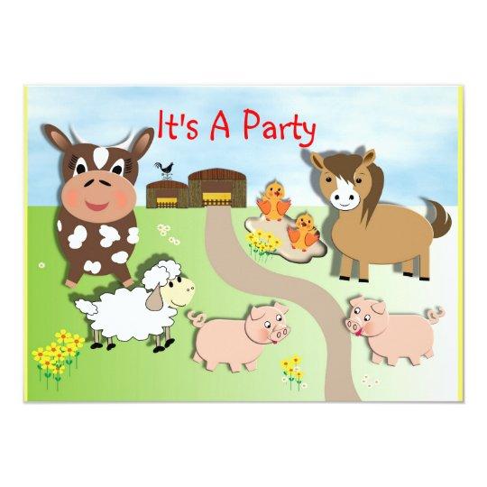 Cute Animal Farm Fun Kids Party Invitations
