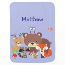 Cute Animal Friends in the Wood Baby Blanket