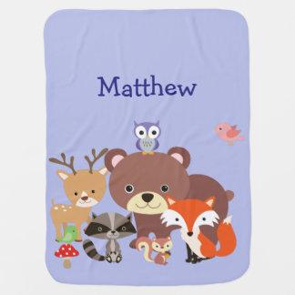 Cute Animal Friends in the Wood Baby Blanket
