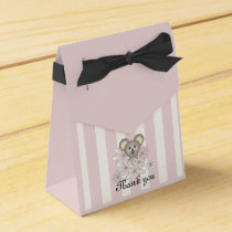 Cute Animal Girl Baby Shower / Birthday Pink Favor Box