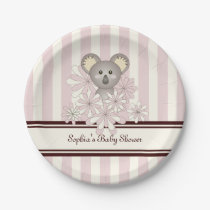 Cute Animal Girl Baby Shower | Kids Birthday Pink Paper Plate