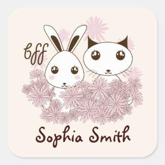 Cute Animal Girl Friendship Cartoon Kids Name Square Sticker