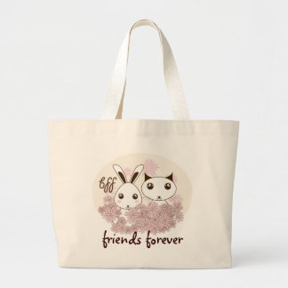 Cute Animal Girl Friendship Personalized Kids Large Tote Bag