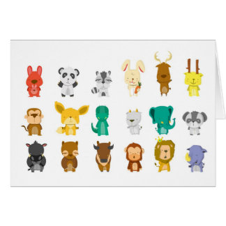 Cute animal group greeting card