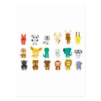 Cute animal group postcard