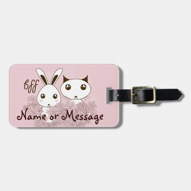 Cute Animal Kids Best Friends Personalized Pink