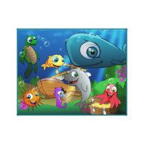 Cute animal kingdom - Sea Canvas Print