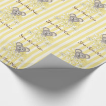 Cute Animal Koala Baby Shower / Birthday Yellow Wrapping Paper
