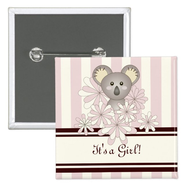 Cute Animal Koala Girl Baby Shower Pink