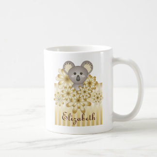 Cute Animal Koala Gold Effect Stripe Kids Name Coffee Mug