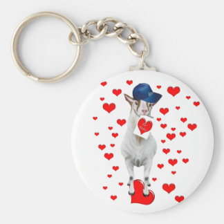 Cute Animal Lover Be Mine Valentine Goat Gift Keychain