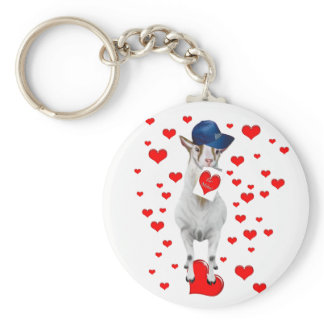 Cute Animal Lover Be Mine Valentine Goat Gift Keychain