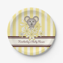 Cute Animal Neutral Baby Shower | Birthday Yellow Paper Plate