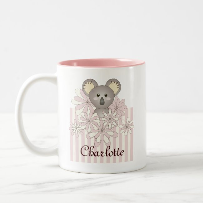 Cute Animal Original Pastel Pink Striped Kids Name