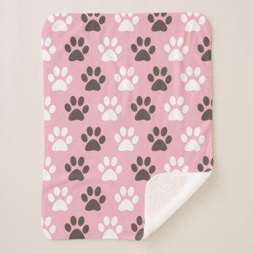 Cute Animal Paw Print Pattern Sherpa Blanket
