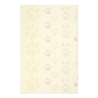 Cute Animal Paw Prints Pattern in Natural Colors Stationery
