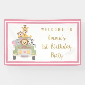 Cute Animal Safari 1st Birthday Party Pink Welcome Banner