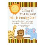 Cute Animal Safari Birthday Party Invitation