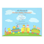 "Cute Animal Train Baby Shower Invitation 5"" X 7"" Invitation Card"