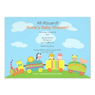 Cute Animal Train Baby Shower Invitation