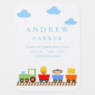Cute Animal Train Birth Announcement Baby Blanket