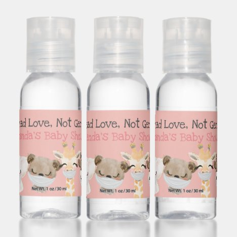 Cute Animal With Face Masks Personalise Gift Hand Sanitizer