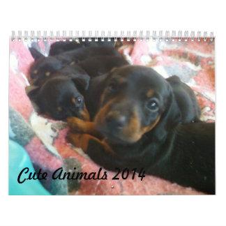 cute animals 2014 Custom Printed Calendar