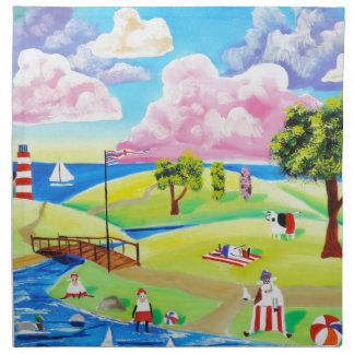 Cute animals at the seaside by Gordon Bruce Cloth Napkin
