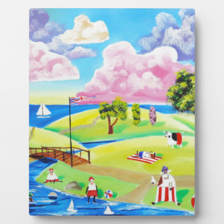 Cute animals at the seaside by Gordon Bruce Plaque