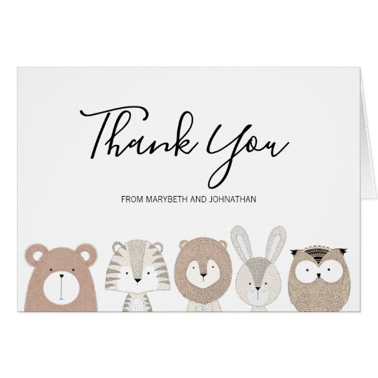 cute animals baby shower thank you card  zazzle