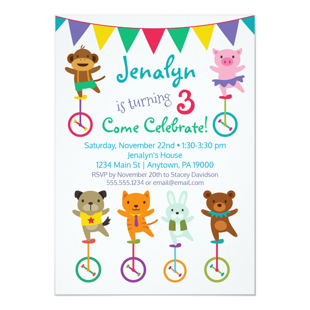 Cute Animals Birthday Invitation Unicycle Circus