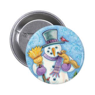 Cute Animals Building a Snowman for Christmas Button