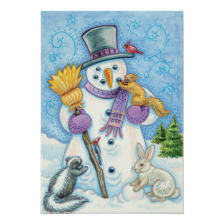 Cute Animals Building a Snowman for Christmas Poster