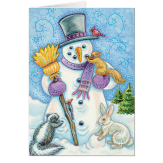 Cute Animals Building a Snowman for Christmas Stationery Note Card