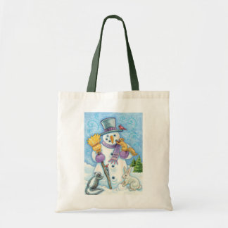 Cute Animals Building a Snowman for Christmas Tote Bag