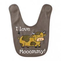 Cute Animals Cow Baby Bib