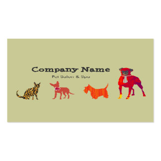 Cute Animals Dogs and Cats Pet Salon Spa Business Card Template