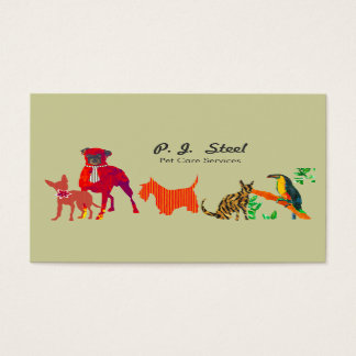 Cute Animals Dogs Cats Business Card
