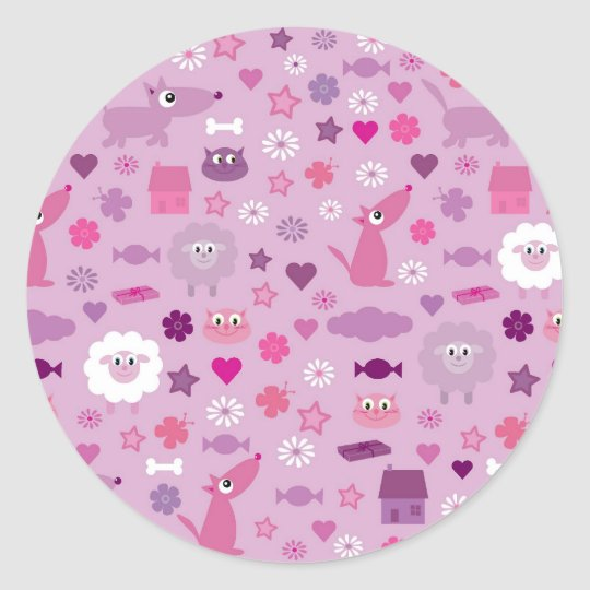 Cute Animals & Fun Stuff For Girls Lilac Stickers