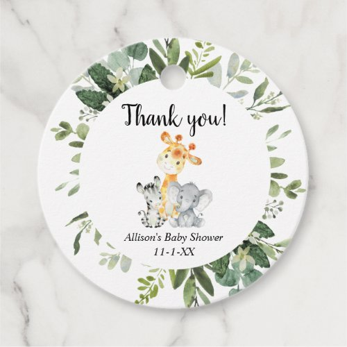 Cute animals gender neutral baby shower thank you favor tags
