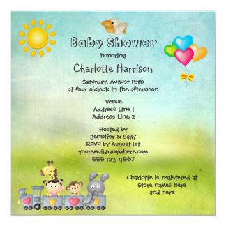 Cute Animals & Girl in Train Baby Shower Card