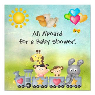 Cute Animals Girl in Train Baby Shower Custom Invites