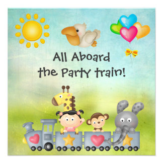 Cute Animals Girl in Train Birthday Party Announcements
