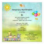 Cute Animals & Girl in Train Birthday Party Invitation