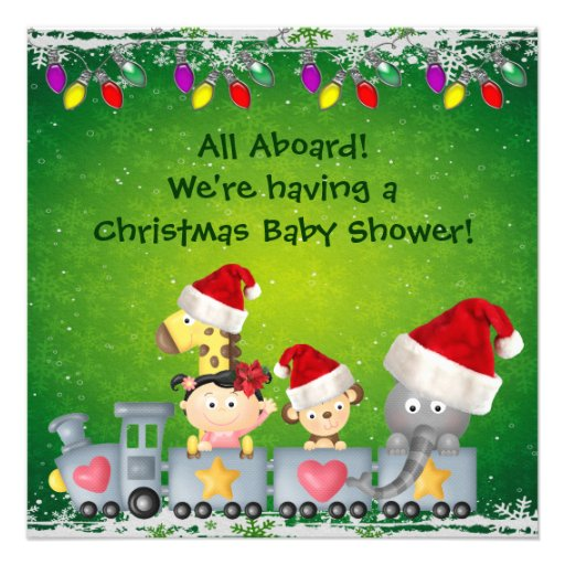 Cute Animals Girl On Train Christmas Baby Shower